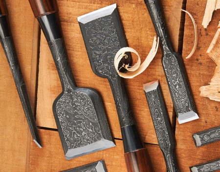 handmade forged japanese chisels hand tools Akio Tasai