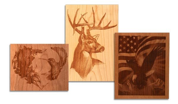 Examples of CNC woodworking laser engraving.