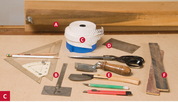 Tools, saws and measuring guides for installing wood veneer.