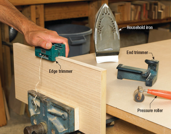 How-to instructions and tools for installing wood veneer banding.