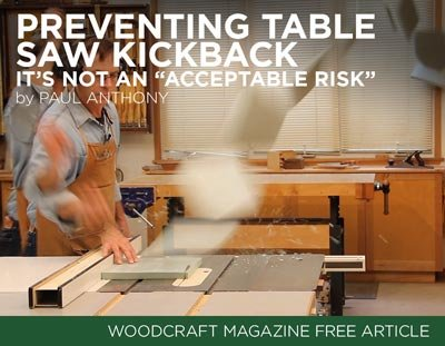 Preventing Table Saw Kickback Article