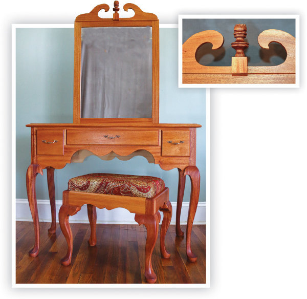 Queen Anne-style dressing table woodworking project.