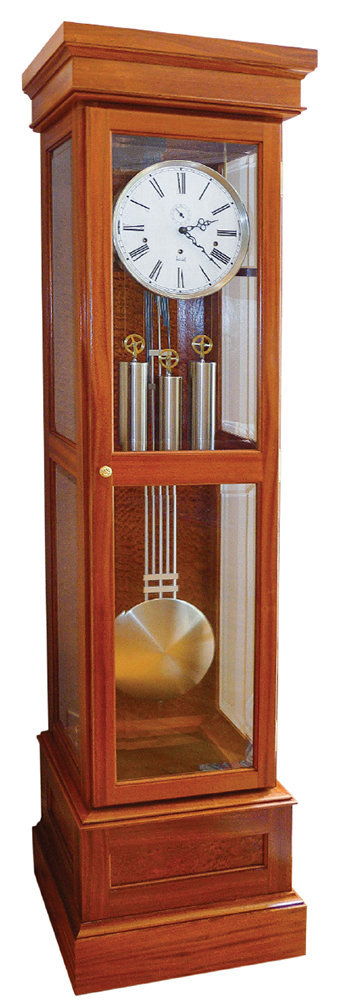 Grandfather Clock made from sapele wood woodworking project.
