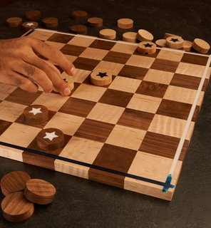 Woodworking project checkerboard game build