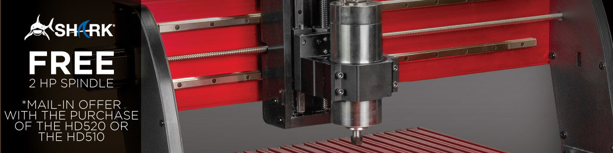 Free 2 HP Spindle with Mail-In Offer and the Purchase of the Shark HD510 or HD520 CNC Machine by Next Wave