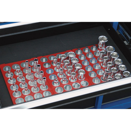 View a Larger Image of 1/2 In. Drive 6-1/8 In. x 10-1/4 In. Red Socket Caddy & 28 Interchangeable Pegs