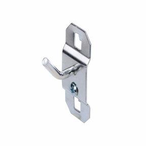 1/2 In. Single Rod 30 Degree Bend 3/16 In. Dia. Zinc Plated Steel Pegboard Hook for LocBoard, 5 Pack