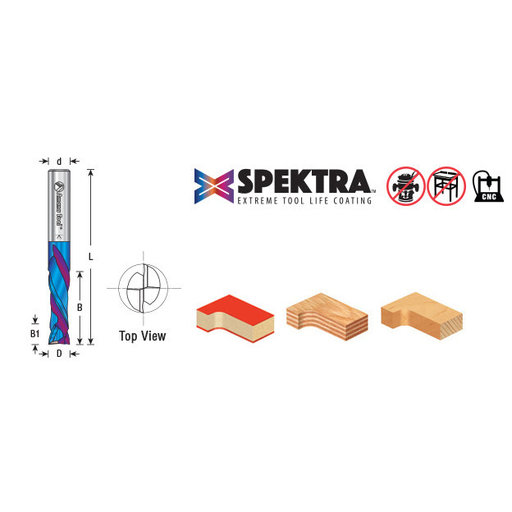 """View a Larger Image of 1/4"""" CNC Solid Carbide Compression Spiral Router Bit, 1/4 Diameter x 7/8 x 1/4 Inch Shank"""