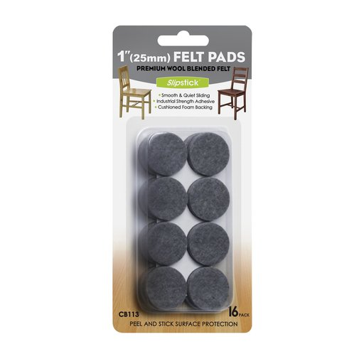 """View a Larger Image of 1"""" Round Heavy Duty Self Stick Felt Pads 16 pc"""
