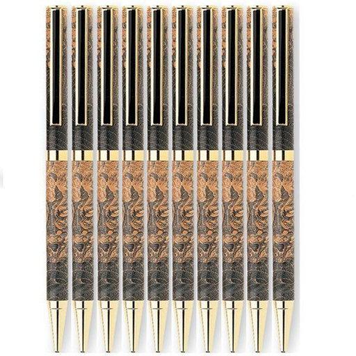 View a Larger Image of 7mm Slim Style Black Strip Clip Ballpoint Pen Kit - Cobalt Gold 10 Pieces
