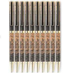 7mm Slim Style Black Strip Clip Ballpoint Pen Kit - Cobalt Gold 10 Pieces