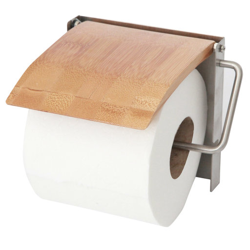 View a Larger Image of 100% Wooden Bamboo Deluxe Toilet Paper Holder