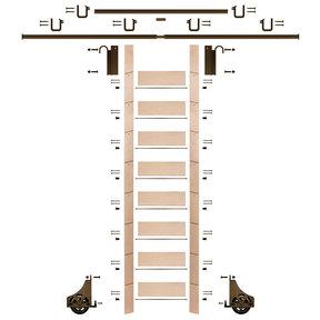 "107"" Clear Pre-Finished Maple Library Ladder Bronze Sliding Hook Ladder Kit w/12' Rail"