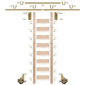 "107"" Clear Pre-Finished Maple Library Ladder Polished Brass Sliding Hook Ladder Kit w/12' Rail"