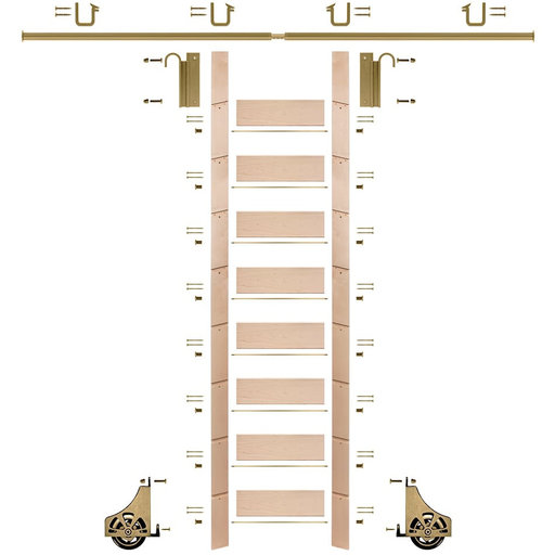 """View a Larger Image of 107"""" Clear Pre-Finished Maple Library Ladder Polished Brass Sliding Hook Ladder Kit w/8' Rail"""