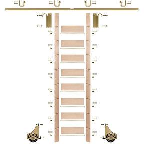 "107"" Clear Pre-Finished Maple Library Ladder Polished Brass Sliding Hook Ladder Kit w/8' Rail"