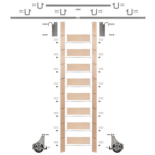"""View a Larger Image of 107"""" Clear Pre-Finished Maple Library Ladder Satin Nickel Sliding Hook Ladder Kit w/12' Rail"""