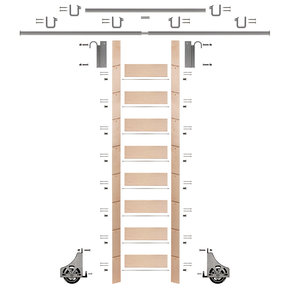 """107"""" Clear Pre-Finished Maple Library Ladder Satin Nickel Sliding Hook Ladder Kit w/12' Rail"""