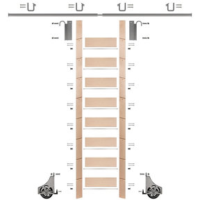 """107"""" Clear Pre-Finished Maple Library Ladder Satin Nickel Sliding Hook Ladder Kit w/8' Rail"""