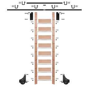 "107"" Clear Pre-Finished Red Oak Library Ladder Black Sliding Hook Ladder Kit w/12' Rail"