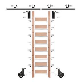 "107"" Clear Pre-Finished Red Oak Library Ladder Black Sliding Hook Ladder Kit w/8' Rail"