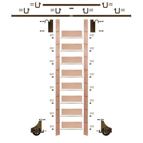 "107"" Clear Pre-Finished Red Oak Library Ladder Bronze Sliding Hook Ladder Kit w/12' Rail"