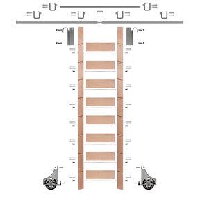 "107"" Clear Pre-Finished Red Oak Library Ladder Satin Nickel Sliding Hook Ladder Kit w/12' Rail"