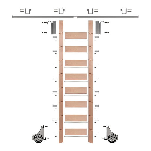 """View a Larger Image of 107"""" Clear Pre-Finished Red Oak Library Ladder Satin Nickel Sliding Hook Ladder Kit w/8' Rail"""