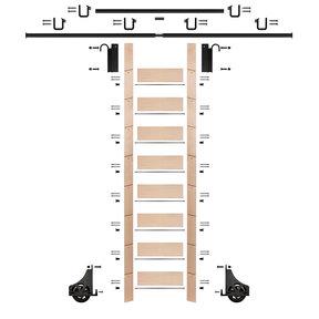 "107"" Un-Finished Maple Library Ladder Black Sliding Hook Ladder Kit w/12' Rail"