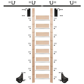 "107"" Un-Finished Maple Library Ladder Black Sliding Hook Ladder Kit w/8' Rail"