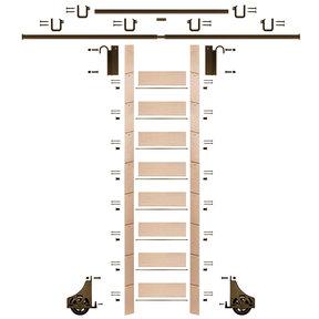 "107"" Un-Finished Maple Library Ladder Bronze Sliding Hook Ladder Kit w/12' Rail"