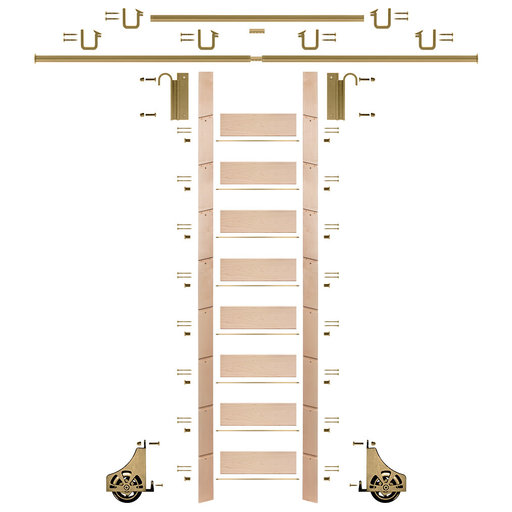 """View a Larger Image of 107"""" Un-Finished Maple Library Ladder Polished Brass Sliding Hook Ladder Kit w/12' Rail"""