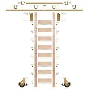 "107"" Un-Finished Maple Library Ladder Polished Brass Sliding Hook Ladder Kit w/12' Rail"