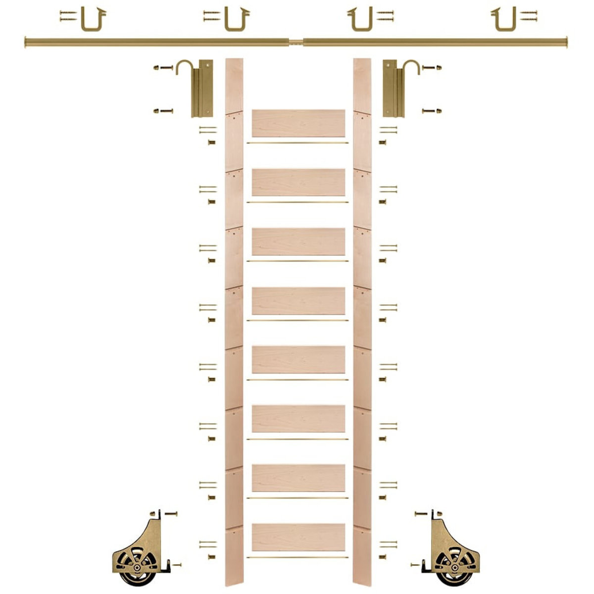 """View a Larger Image of 107"""" Un-Finished Maple Library Ladder Polished Brass Sliding Hook Ladder Kit w/8' Rail"""