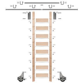 "107"" Un-Finished Maple Library Ladder Satin Nickel Sliding Hook Ladder Kit w/12' Rail"