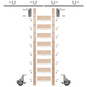 "107"" Un-Finished Maple Library Ladder Satin Nickel Sliding Hook Ladder Kit w/8' Rail"