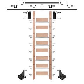 """107"""" Un-Finished Red Oak Library Ladder Black Sliding Hook Ladder Kit w/12' Rail"""