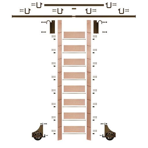 "View a Larger Image of 107"" Un-Finished Red Oak Library Ladder Bronze Sliding Hook Ladder Kit w/12' Rail"