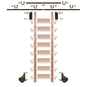 "107"" Un-Finished Red Oak Library Ladder Bronze Sliding Hook Ladder Kit w/12' Rail"