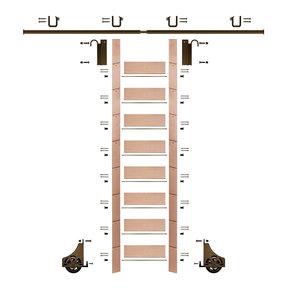 "107"" Un-Finished Red Oak Library Ladder Bronze Sliding Hook Ladder Kit w/8' Rail"