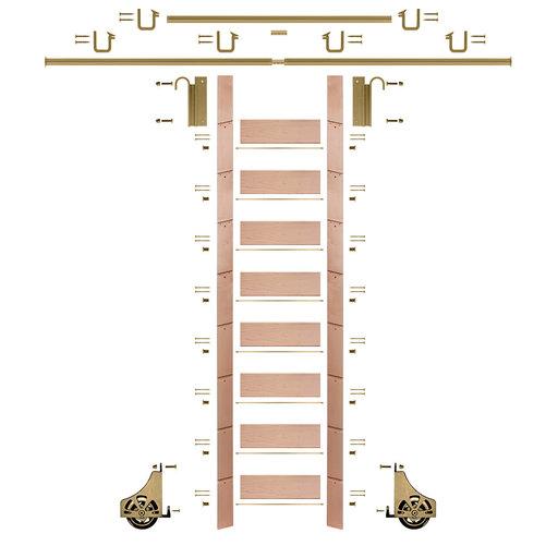"View a Larger Image of 107"" Un-Finished Red Oak Library Ladder Polished Brass Sliding Hook Ladder Kit w/12' Rail"