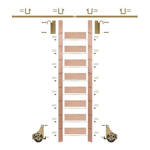 "View a Larger Image of 107"" Un-Finished Red Oak Library Ladder Polished Brass Sliding Hook Ladder Kit w/8' Rail"