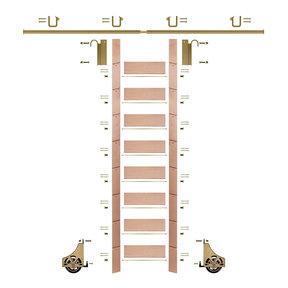 "107"" Un-Finished Red Oak Library Ladder Polished Brass Sliding Hook Ladder Kit w/8' Rail"