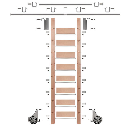 """View a Larger Image of 107"""" Un-Finished Red Oak Library Ladder Satin Nickel Sliding Hook Ladder Kit w/12' Rail"""