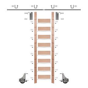 "107"" Un-Finished Red Oak Library Ladder Satin Nickel Sliding Hook Ladder Kit w/8' Rail"