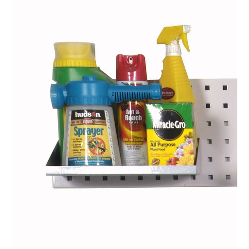 View a Larger Image of 12 In. W x 10 In. D Silver Epoxy Powder Coated LocBoard Steel Shelf with 6 Holes