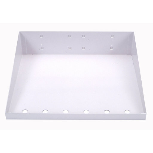 View a Larger Image of 12 In. W x 10 In. D White Epoxy Powder Coated LocBoard Steel Shelf with 6 Holes