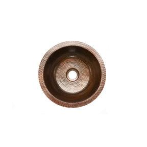 """14"""" Round Hammered Copper Bar Sink w/ 2"""" Drain Size"""