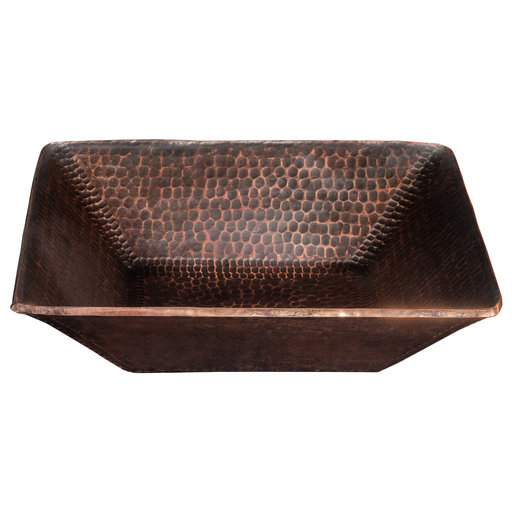 """View a Larger Image of 14"""" Square Hand Forged Old World Copper Vessel Sink"""