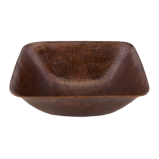 """View a Larger Image of 14"""" Square Vessel Hammered Copper Sink"""
